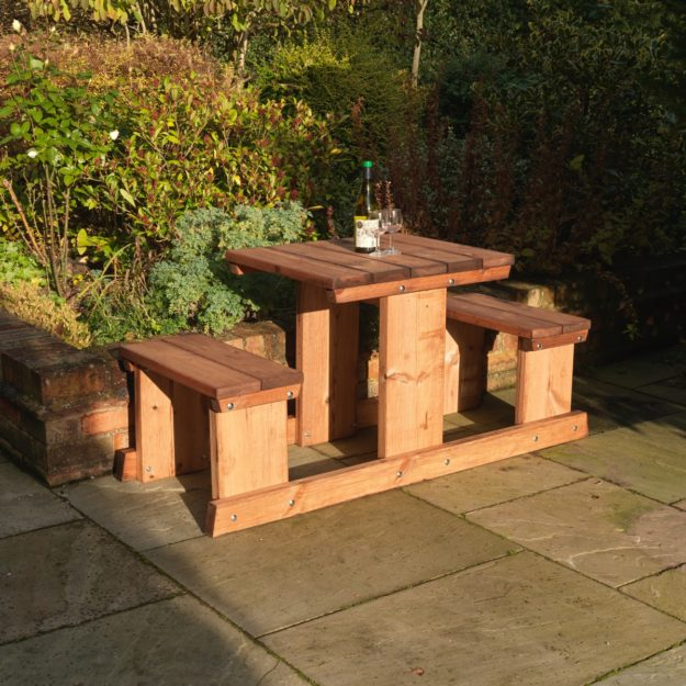 A sturdy wooden picnic table suitable for 2 people with rectangular table and two fixed benches