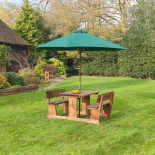 A thick wood 4 seater picnic table with a rectangular table and 2 fixed bench seats