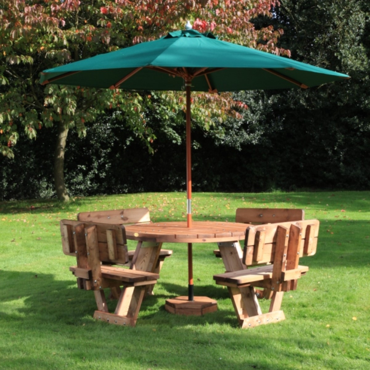 Circular Seater With Backrests Woodberry - Picnic table with backrest