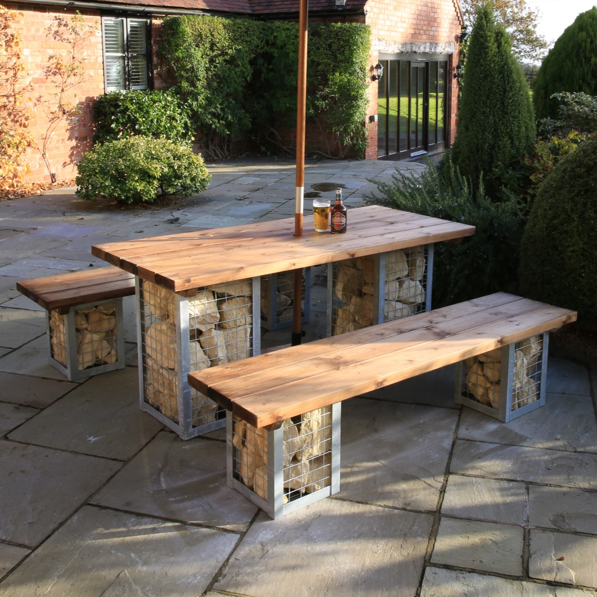 Gabion Table Amp Bench Set Woodberry