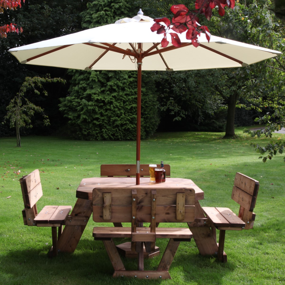 Square Seater With Backrests Woodberry - Picnic table with backrest
