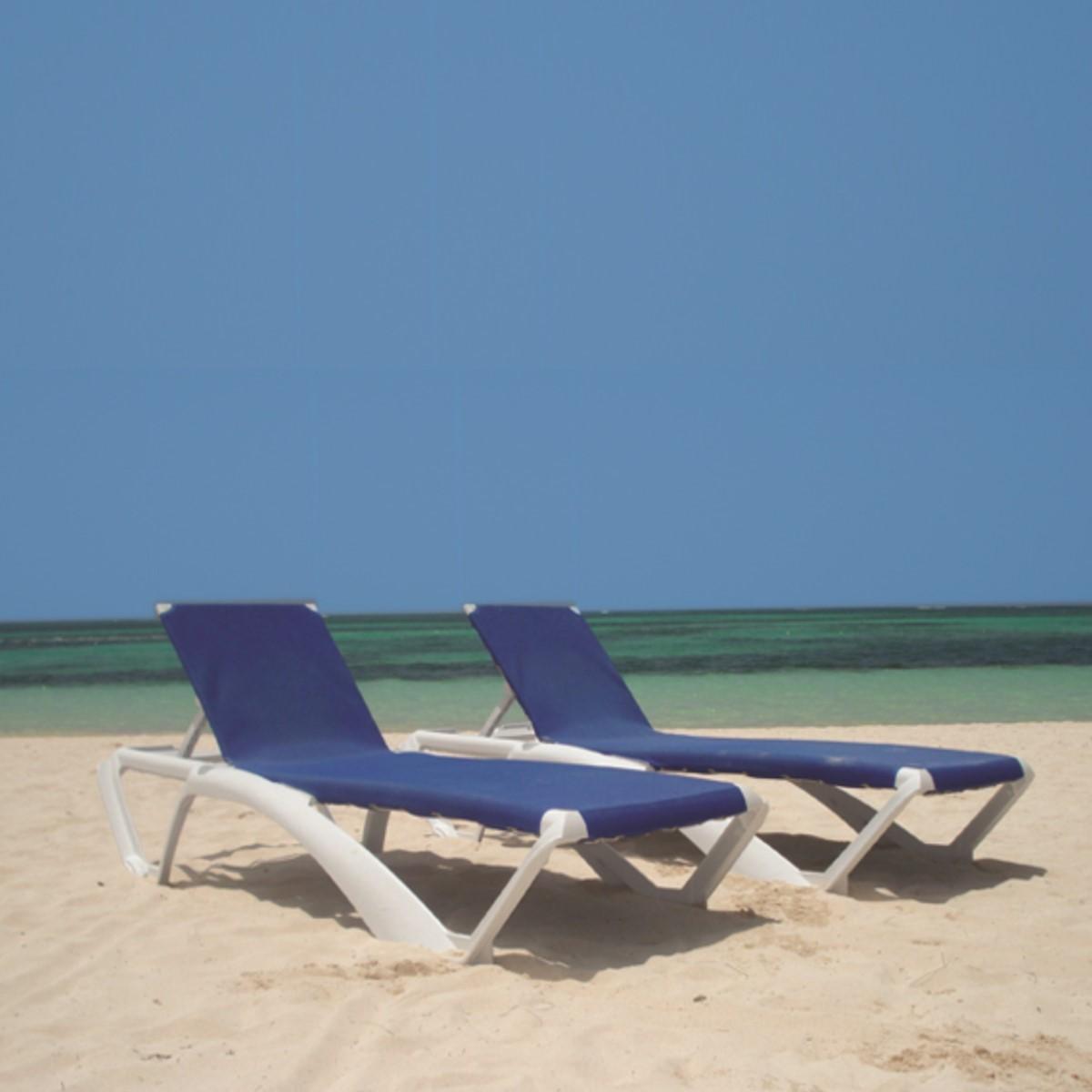 Poolside Sun Lounger Resin Canvas Sun Lounger Woodberry