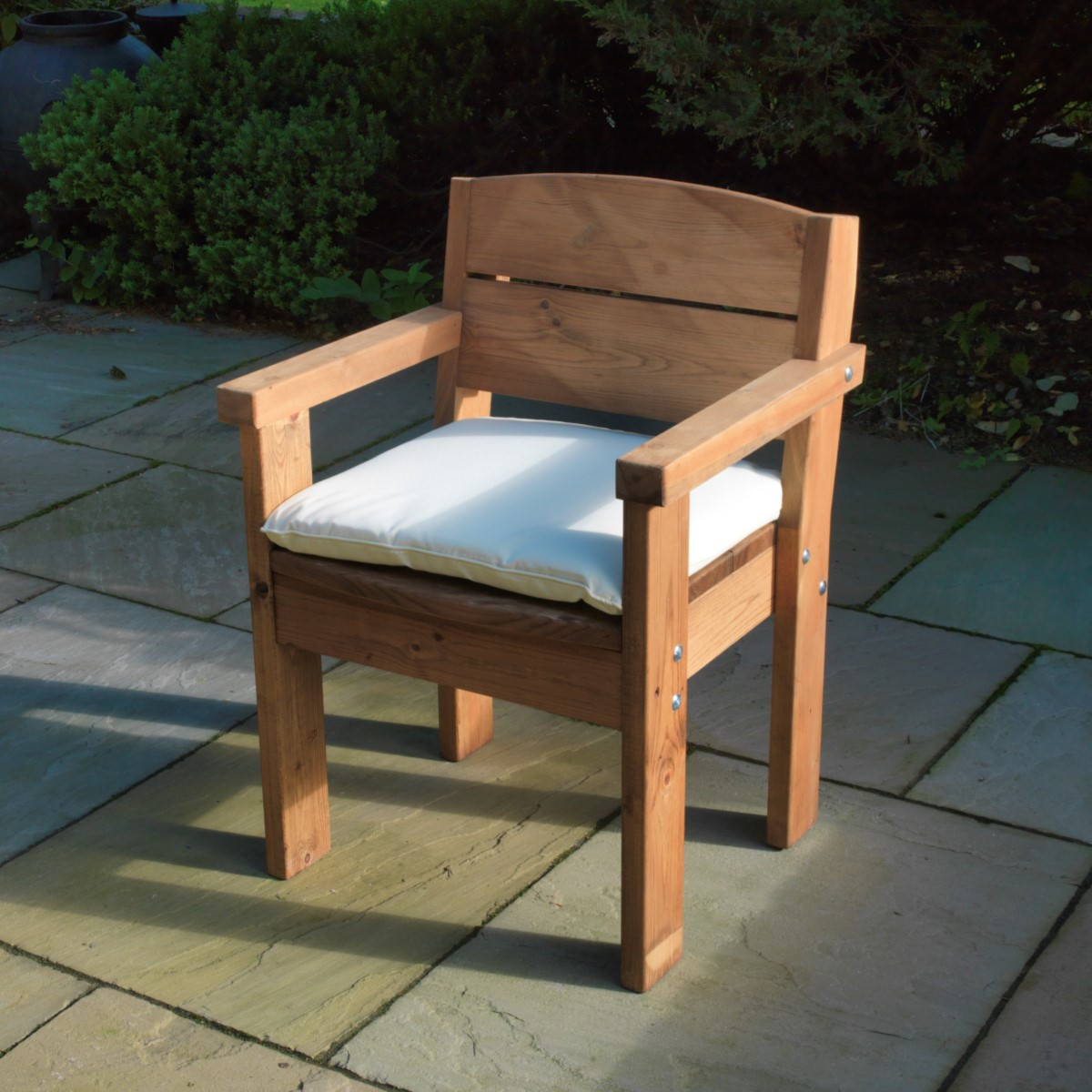 Pine Softwood Armchair With Cushion