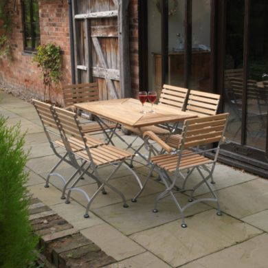 Teak & Steel Folding Tables & Chairs - Florence Range