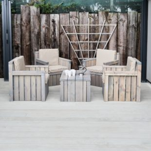 wooden outdoor sofa and coffee table