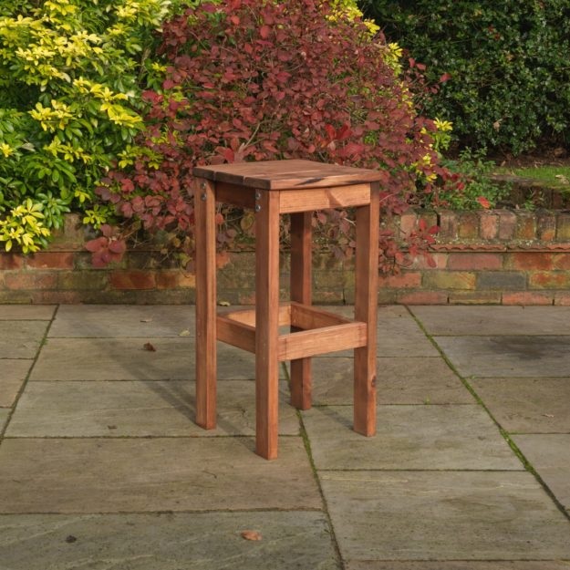 A well built outdoor pine bar stool with square seat
