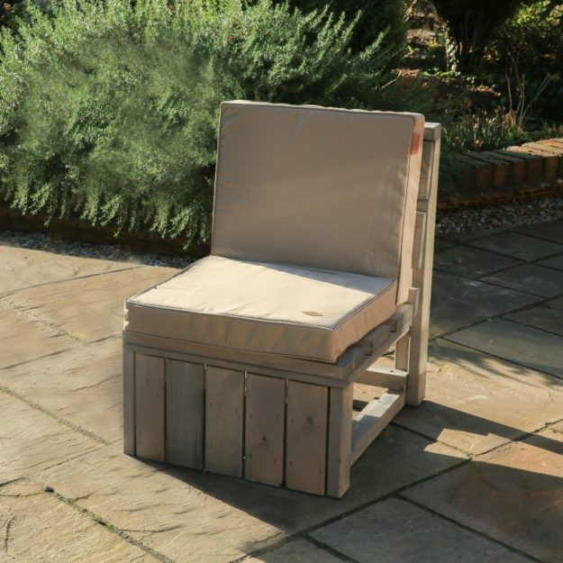 An individual outdoor wooden sofa seat with cushion that is a component to make up the warwick modular sofa set
