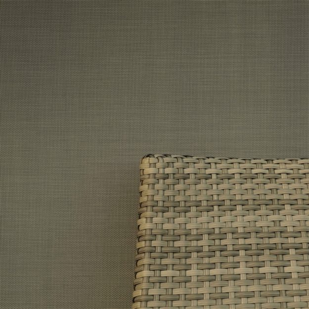 A zoomed in perspective of the material weave of a luxury metal gazebo side blind