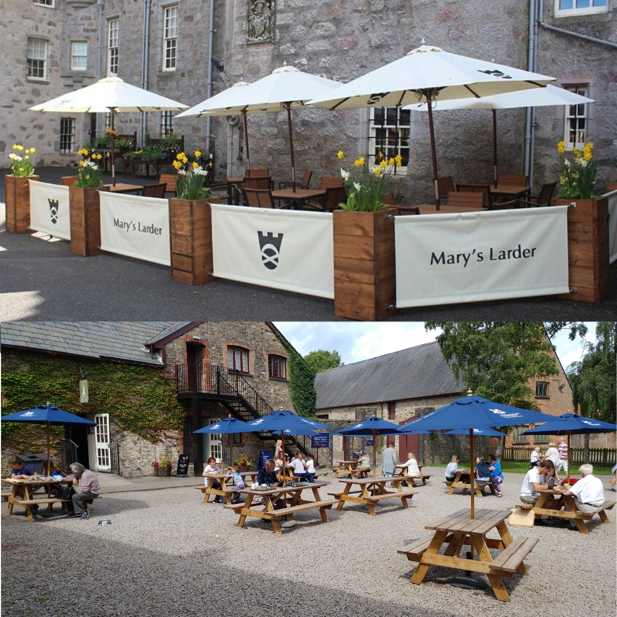 Showing branded parasols, planters and barriers at National trust scotland and picnic benches and parasols at national trust wales