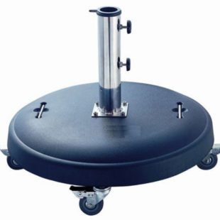 A round 50kg parasol base with wheels for easy relocation