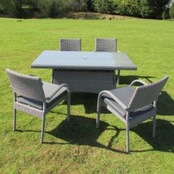 Grey Rattan Rectangular Table and 4 Chairs - Stockholm ...
