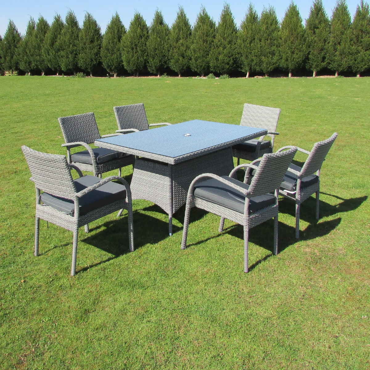Rectangular Grey Rattan Dining Table and 6 Chairs Set ...