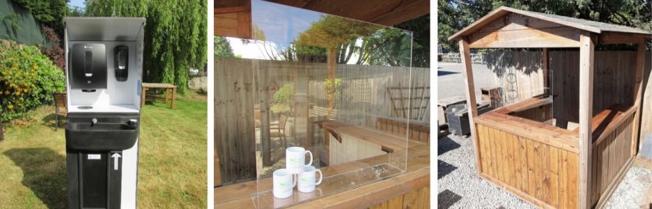 Covid Secure products including a portable hand wash basin, counter top screen and outdoor servery cabin