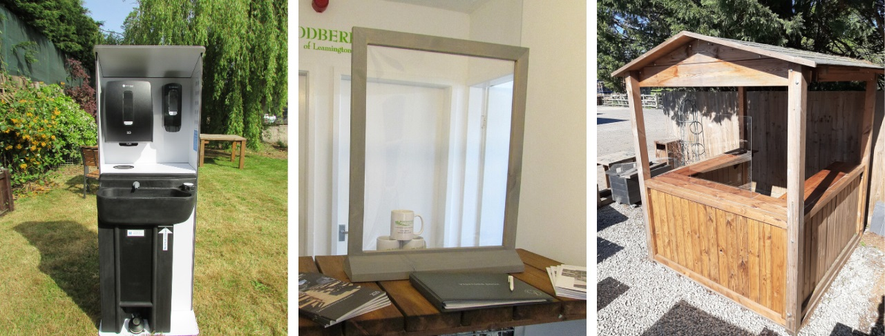 Covid secure products for the hospitality industry photo shows portable handwash basin, protective screen on a counter top and a wooden outdoor servery cabin