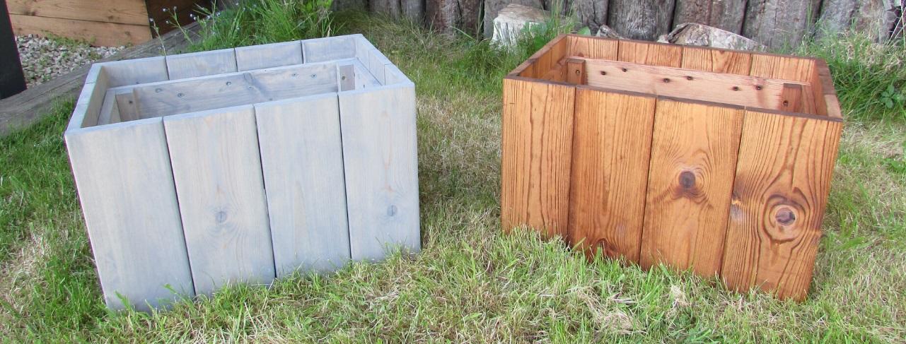Two wooden rectangular garden planters