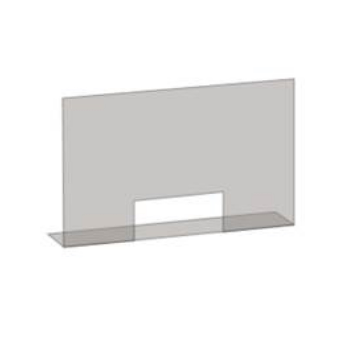 A clear acrylic screen with cut out hatch for exchanges on a white background