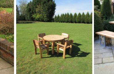 A two seater wooden picnic table, a round wooded outdoor table and four chairs around, a rectangular table and two benches either side