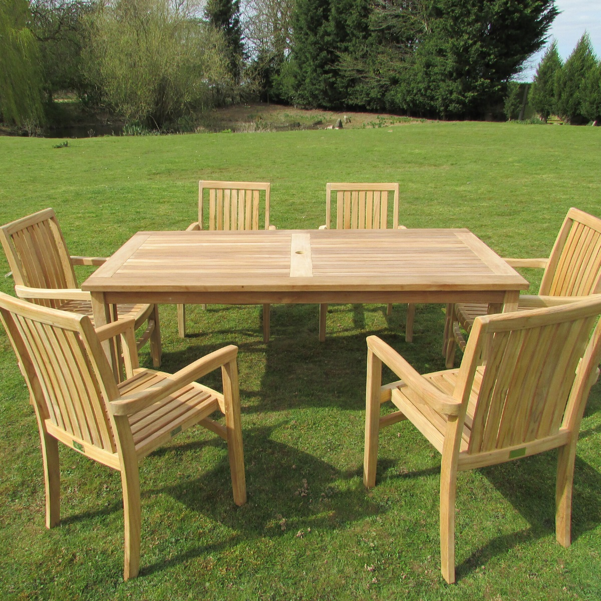 1 8m Rectangular Teak Outdoor Dining Table Woodberry