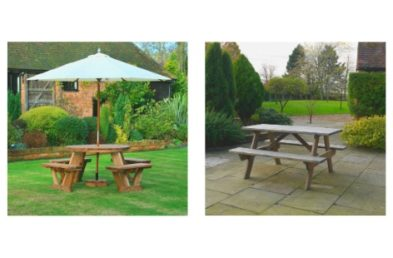 A selection of photos of wooden and recycled plastic picnic tables