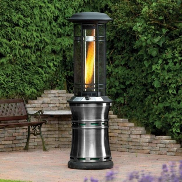 A cylindrical 1.7m tall real flame gas patio heater located on a patio