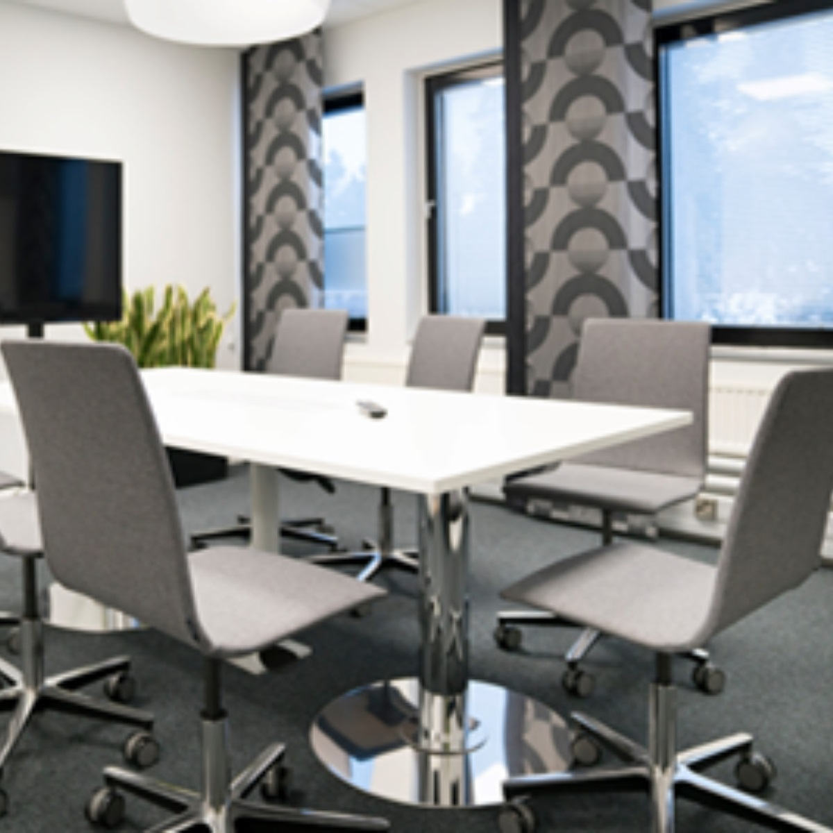 Antimicrobial indoor furniture a board room style rectangular table and 5 office chairs