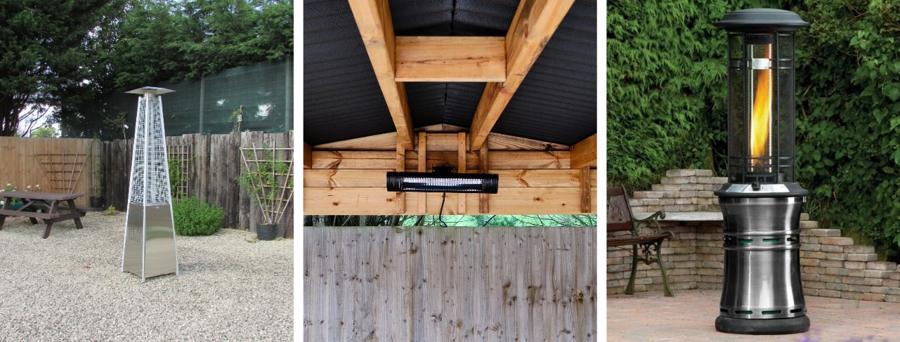 A pyramid shaped metal gas patio heater, a rectangular electric wall mounted heater and a cylindrical real flame gas patio heater