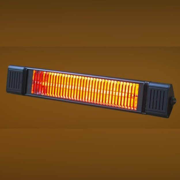 A slim rectangular black electric patio heater that can be wall mounted on a brown backgroun