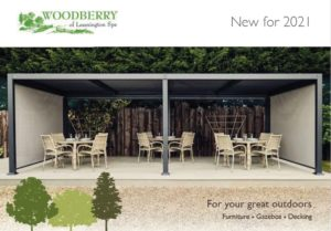 The front cover of Woodberry 2021 catalogue showing a gazebo on a deck with outdoor furniture underneath it