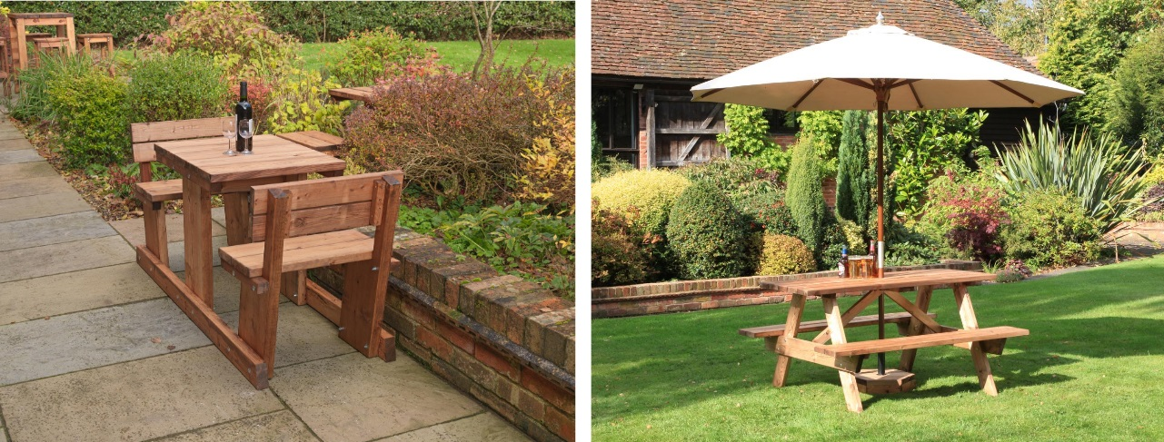 two images of picnic tables, one is a square wooden picnic table with seats and seat backs the other is a wooden a frame picnic table with a cream parasol