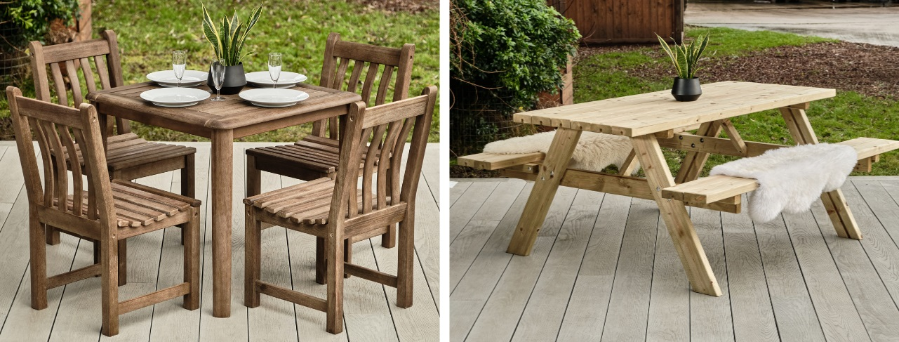 2 photos of outdoor furniture on a deck, one with a square wooden table and 4 chairs and one wooden a frame picnic bench