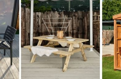 3 photos of commercial outdoor furniture, 1 is a black and wood laminate table with plastic dark grey chairs, 2 is a budget wooden picnic table and 3 is a wooden outdoor dining cabin seating 6