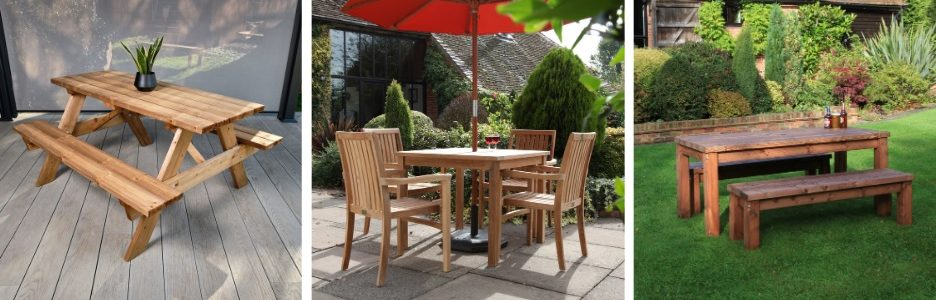 A wooden A frame picnic table, a teak square dining table and chairs set and a rectangular wooden outdoor table and bench set