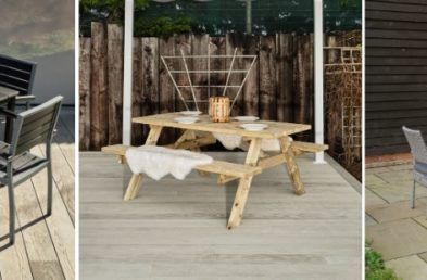 3 images of outdoor furniture, a square black table with matching chairs on a deck, a wooden a frame picnic table and a grey rattan round table with matching armchairs on a patio