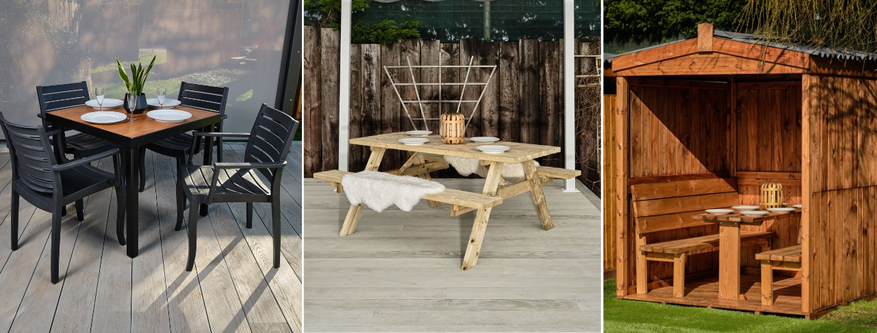 A square outdoor table with black aluminium legs and a laminate wood top with 4 dark grey plastic chairs, an 8 seater wooden picnic table and an outdoor dining cabin seating 6 people
