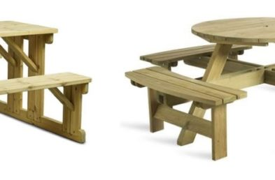 A rectangular 6 seater wooden picnic table and a circular 8 seater wooden picnic table on a white background