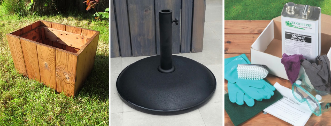 Outdoor furniture accessories, a wooden trough planter, a black round parasol base and a wood preserve treatment kit