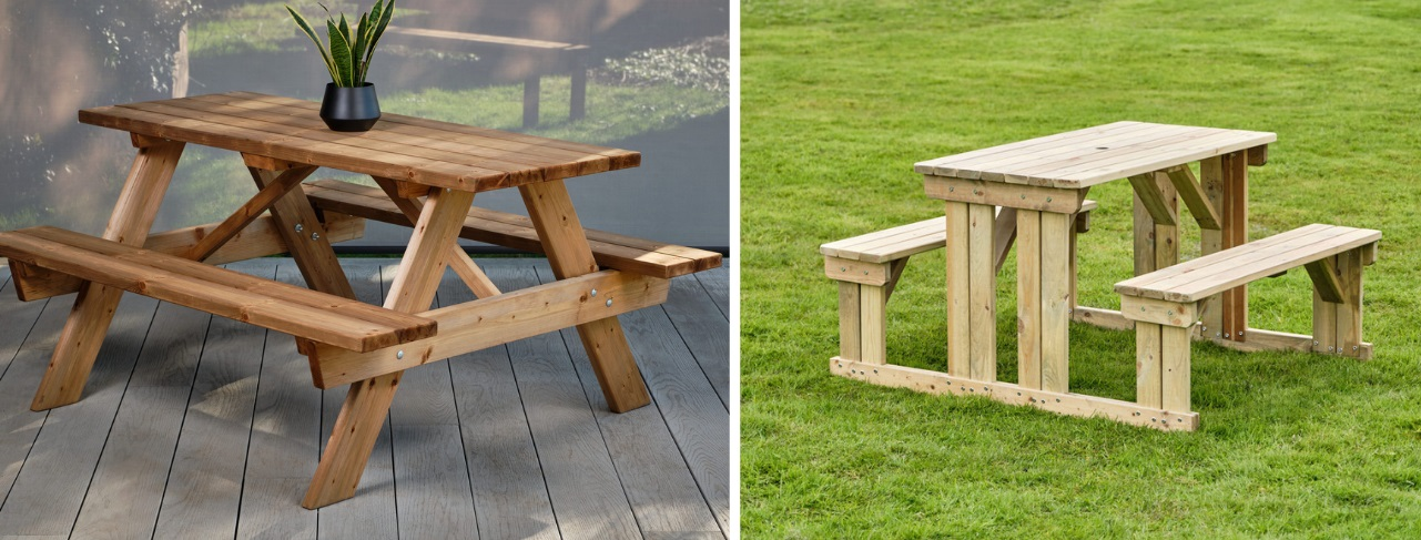 Commercial wooden picnic tables